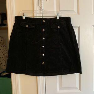 Mini corduroy/velvet skirt with faux buttons NWOT